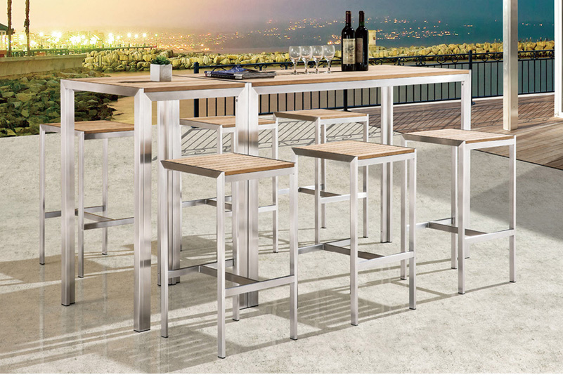 Stainless steel bar table and stool set