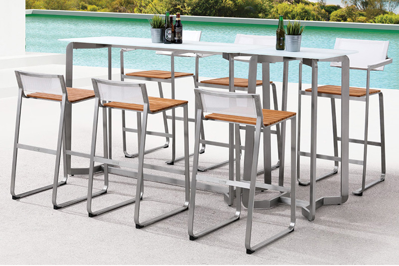 Stainless steel teak tempered glass bar table and adjustable seat outdoor furniture