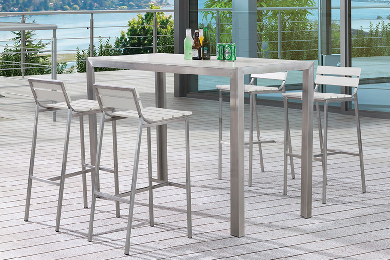 Outdoor stainless steel and plastic wood garden furniture