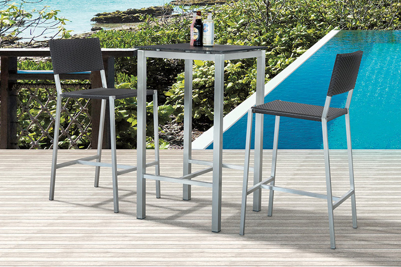 Outdoor stainless steel rattan bar table set