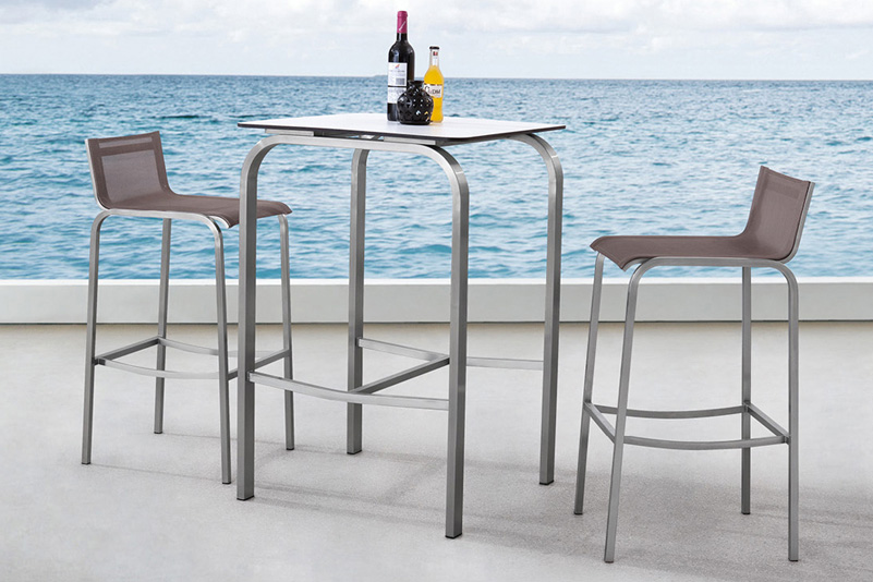 Garden outdoor stainless steel bar set with HPL top