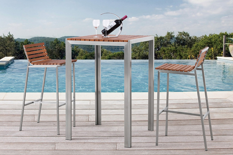 Teak and Stainless Steel outdoor bar table set