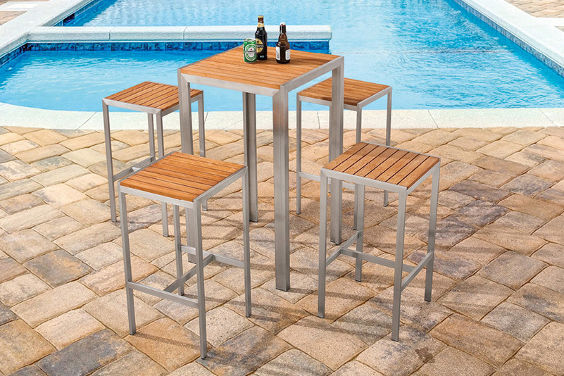 Outdoor Stainless steel bar tablt and stool set