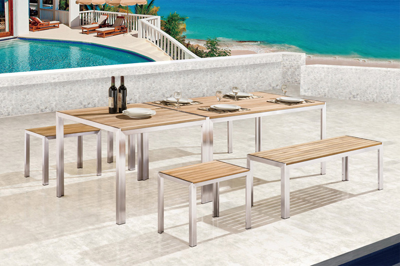 Teak table and  bench garden furniture set