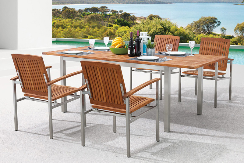 Teak and Stainless Steel outdoor extension table set