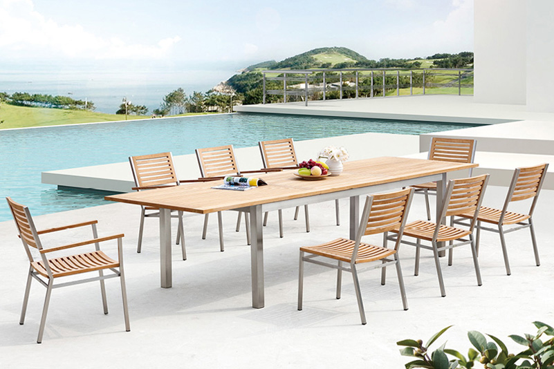 Teak and Stainless Steel garden extension table set