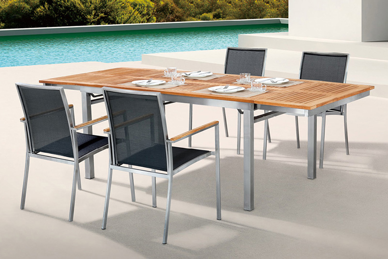 FSC Teak and Stainless Steel outdoor extension table set