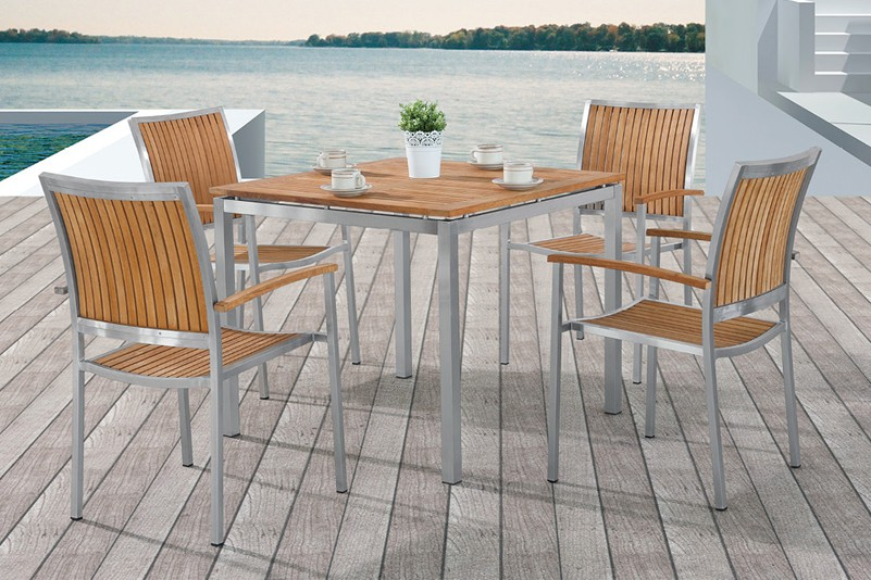 Outdoor garden 5 seater solid wood table set