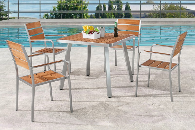 Gathering outdoor garden 5 seater dining table set