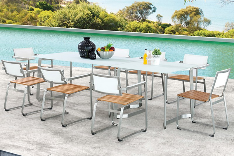 Stainless steel teak tempered glass table and adjustable seat outdoor furniture
