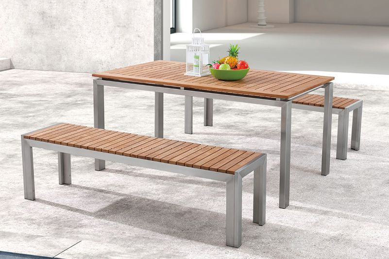 Teak table and bench outdoor furniture set