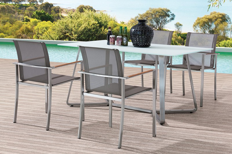 Textiline chair and tempered glass table set garden furniture