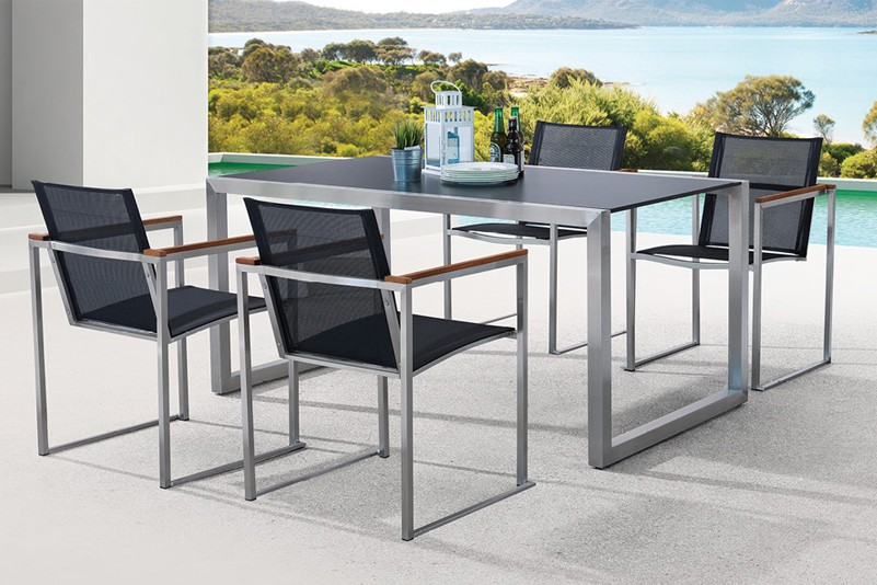 Textiline chair and HPL table set garden furniture