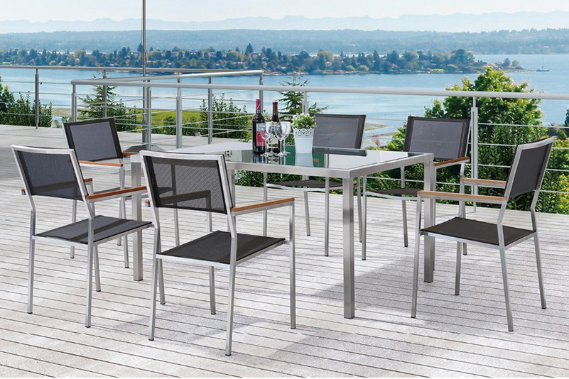 Textiline chair and Tempered glass table set outdoor furniture