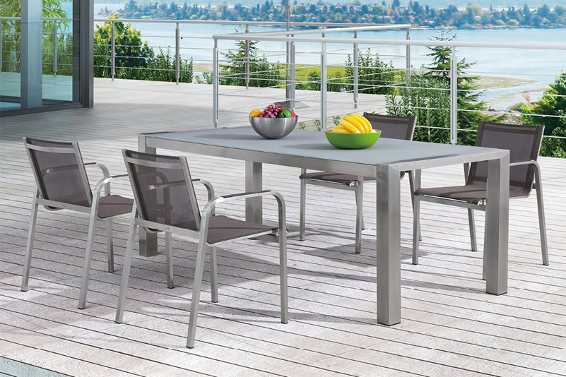 Stainless steel teak tempered glass table and textiline chair outdoor furniture