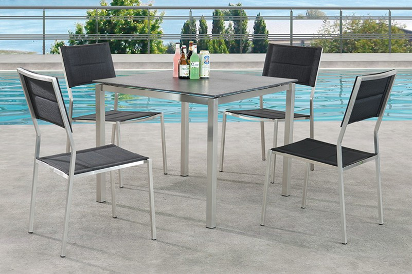 Luxury outdoor garden textiline chair and tempered glass table set