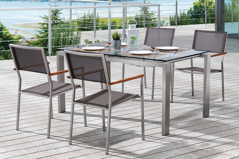 Tempered glass top stainless steel frame outdoor furniture