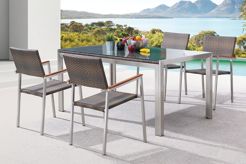Outdoor stainless steel rattan table set