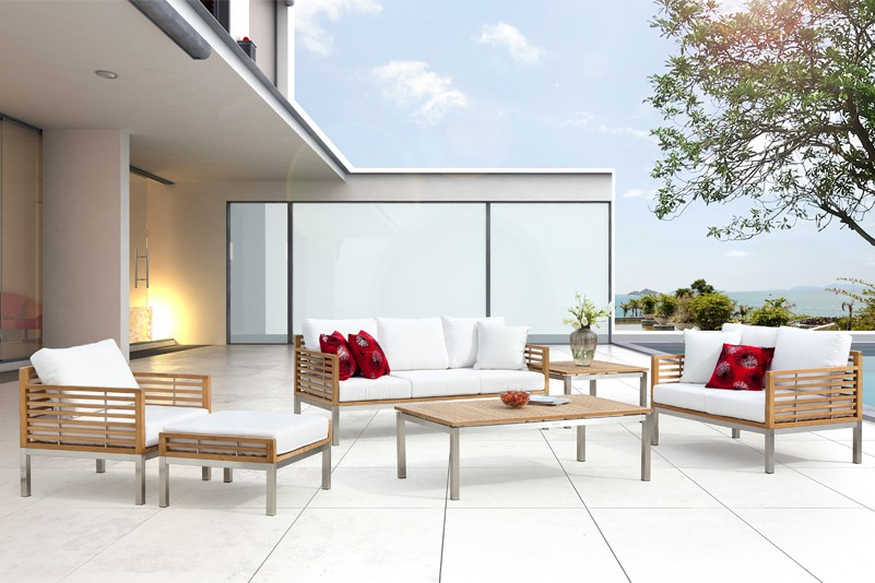 Luxury outdoor teak and stainless steel sofa set