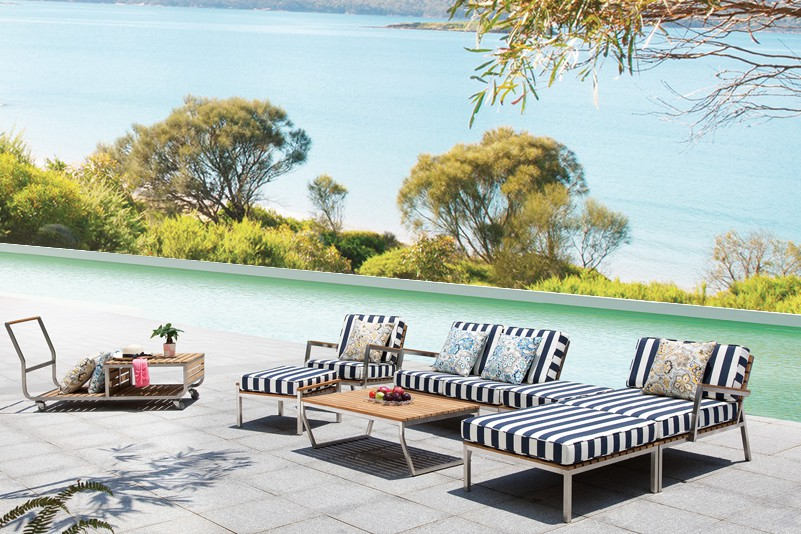 Outdoor teak and stainless steel sofa set