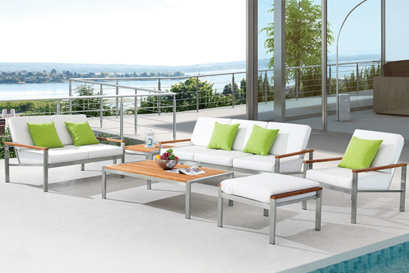 Brushed Stainless steel outdoor sofa set