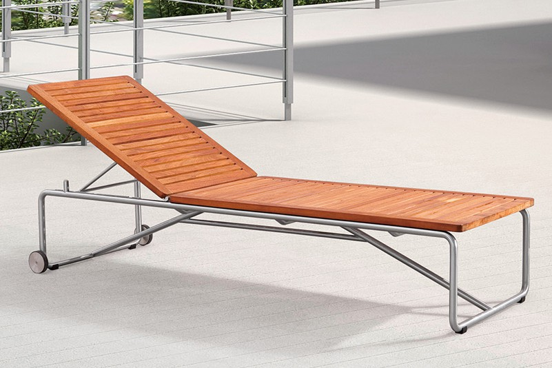 Outdoor poolside chaise lounge