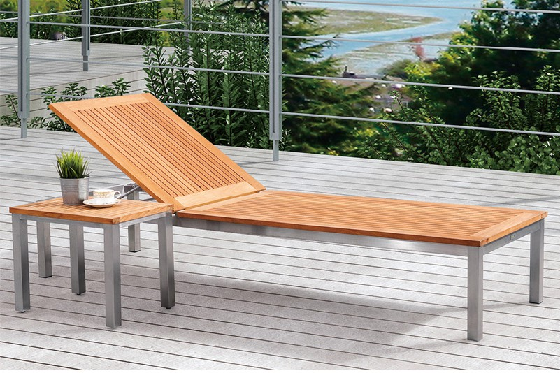 Outdoor stainless steel teak  chaise lounge  set
