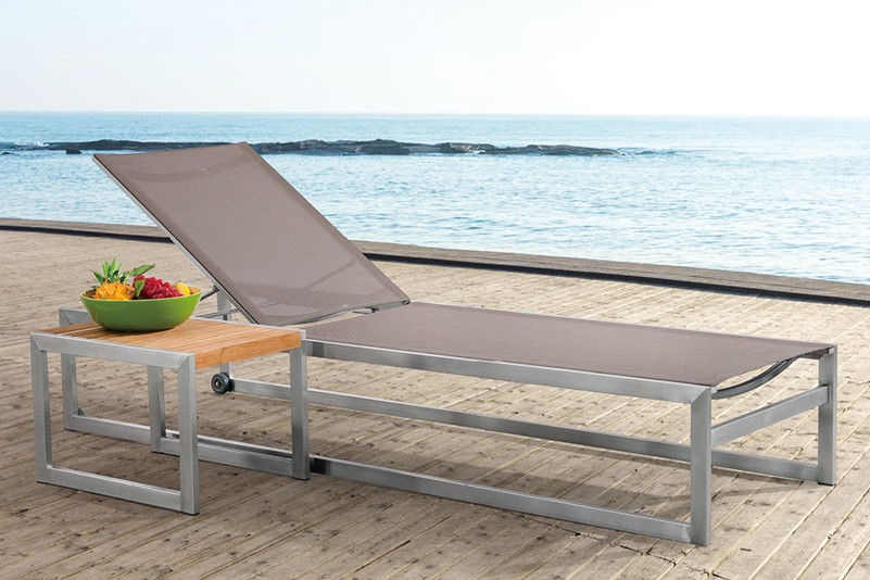 Nordic style design outdoor stainless steel textiline chaise lounge set