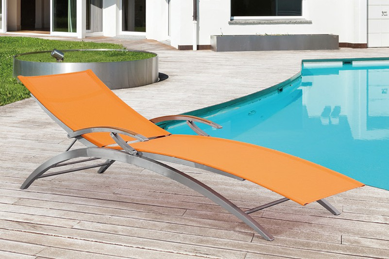 Luxury stainless steel and batyline beach chaise lounge or resort hotel