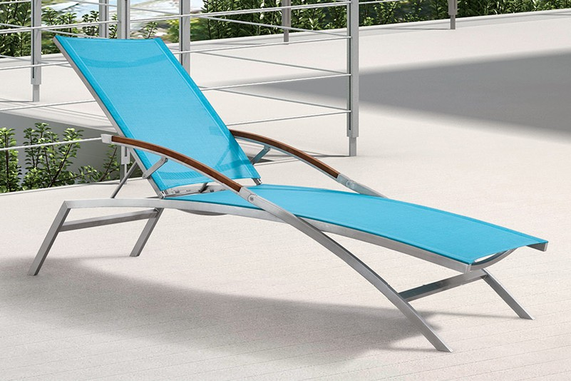 #304 Brushed Stainless Steel outdoor beach seaside sun lounger
