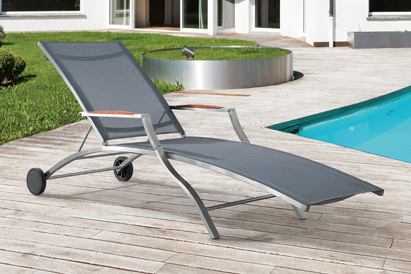 Stainless steel and batyline beach chaise lounge or resort hotel