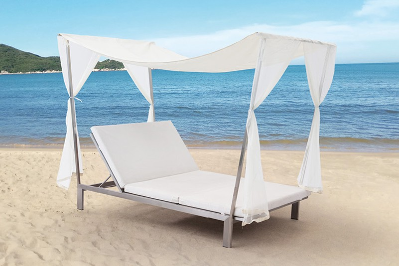 Plastic wood  and stainless steel Double Seat Sun Lounger