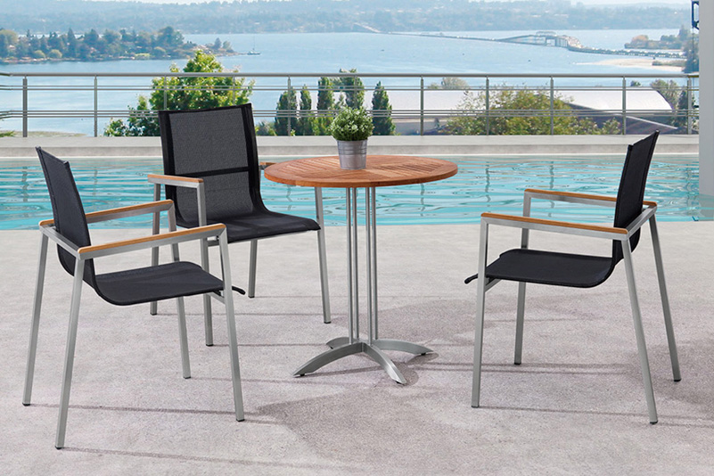 Stainless steel patio bar set