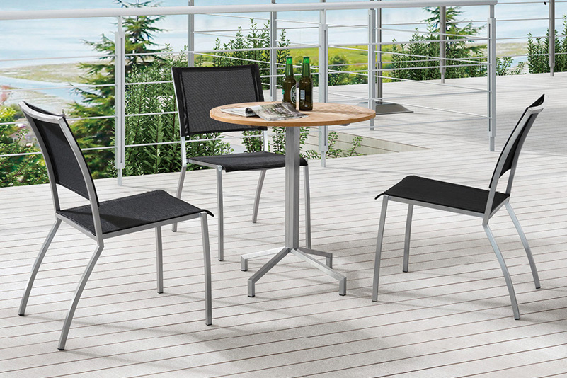 Stainless steel outdoor furniture teak wood bar table and mesh bar chairs