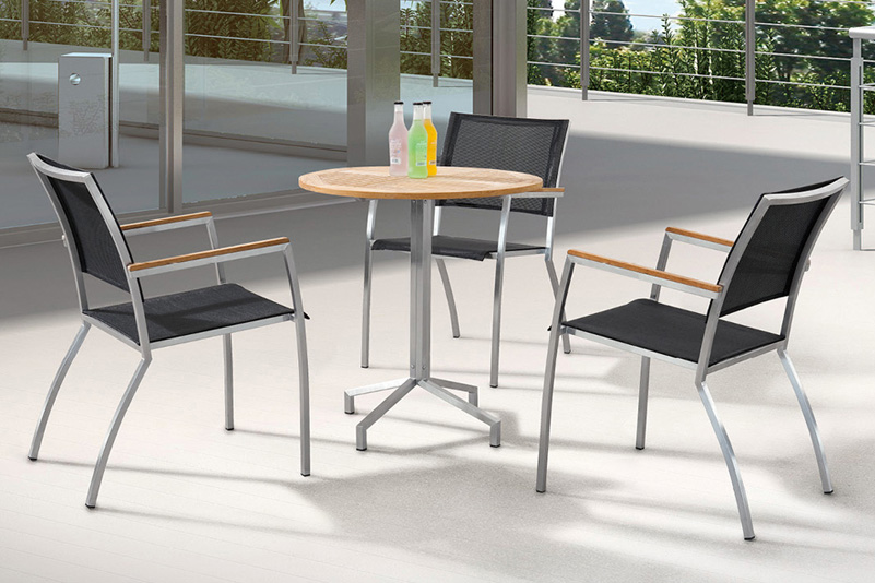 Stainless steel bar table and chair sets teak wood and mesh
