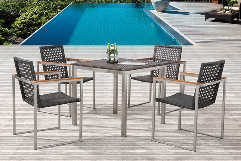 4-seater outdoor stainless steel rattan bar table set