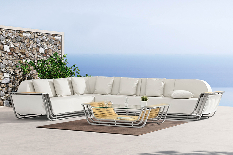 Outdoor leather stainless steel sofa sectional